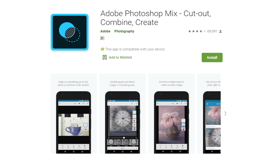 Adobe Photoshop Mix on iPhone