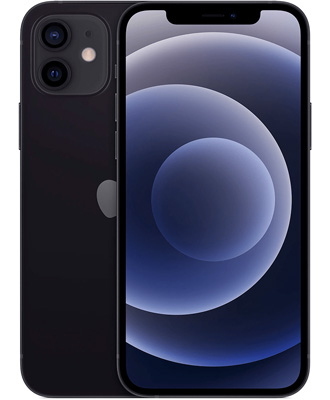 The new iPhone 12 64 GB is black in ICOOLA