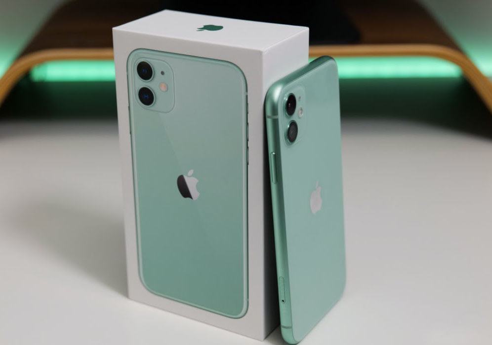 Green iPhone 11 with a complete set