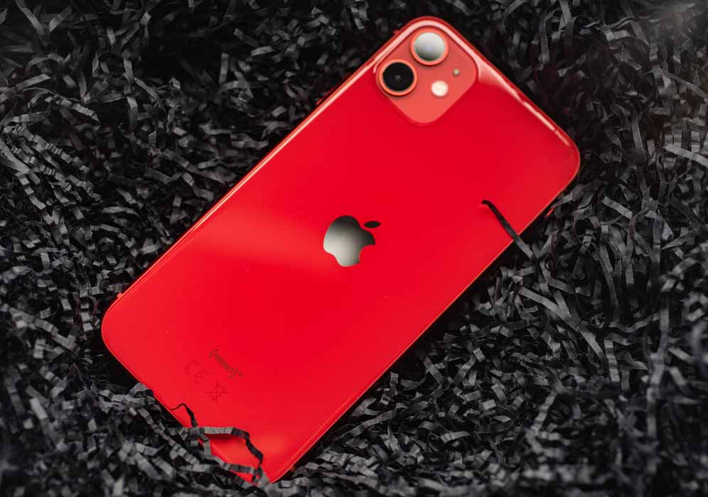 Red iPhone 11 on 256 GB