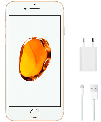 charger and unit included with the iPhone 7 Gold for 128 gigs