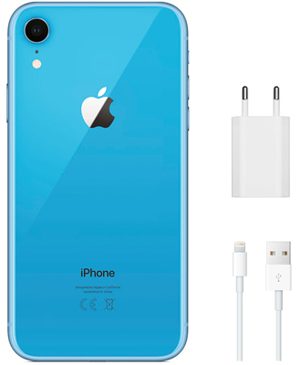 Complete set when buying an iPhone XR blue 128 GB