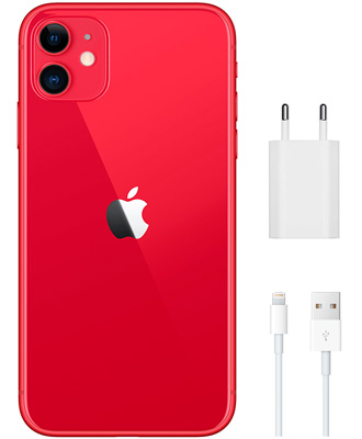 Features of the red iPhone 11 at 256 GB.