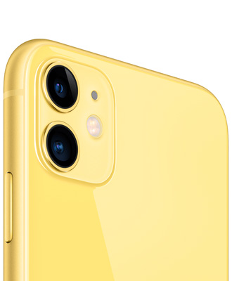 The yellow iPhone 11 by 256 gigabytes is activated