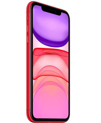 The red iPhone 11 by 64 gigabytes is in good condition.