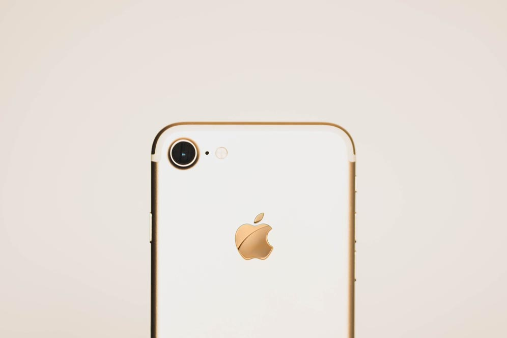 The back of the gold case iPhone 7